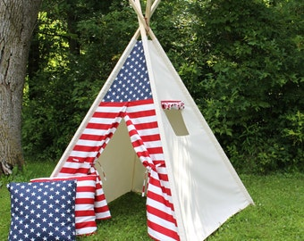 Patriotic Red White and Blue Front / Natural Canvas Teepee with Wood Poles, Childrens Tent, Play Tent, Play House, Fort, Photo Prop