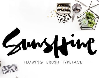 Sunshine, Stylish Brush Font, Digital Fonts Download Watercolor Typefaces