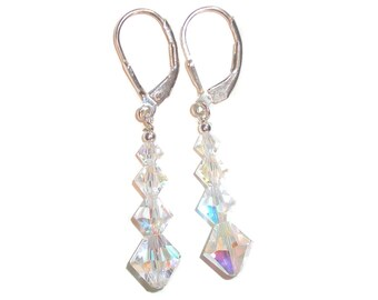 Iridescent CLEAR AB Crystal Earrings Sterling Silver Dangle Swarovski Elements Clip-on & Pierced