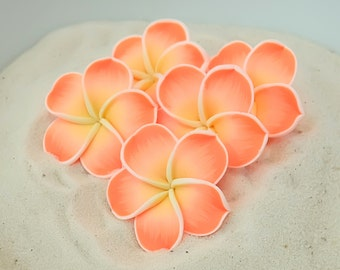 Wholesale Plumeria - 35mm Polymer Clay Flowers - FIMO Flower Beads - Clay Flower Beads - Orange Plumeria Flowers - DIY Beads - 5 Pieces