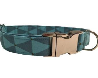 The Freddie Collar- Handmade Blue Triangle Pattern Dog Collar by Daft Paws