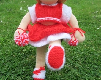 16 inch girl Waldorf doll with mohair hair, cheer leader & dress outfits. Ideal Christmas present.