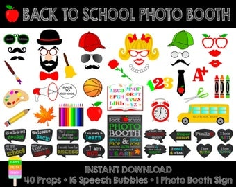 Back To School Photo Booth Props –Set of 57 Pieces :40 Props,16 Speech Bubbles,1 Photo Booth Sign-1st Day of School Props-Instant Download