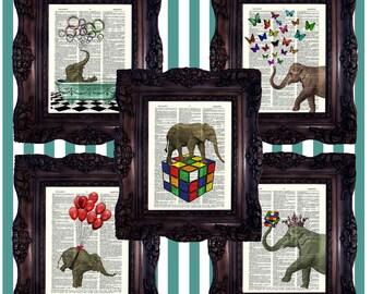 ELEPHANT Art print Elephant Print on Book Page Elephant Wall Art DICTIONARY Art Print Elephant Decor Elephant Home Decor Elephant Gift Print