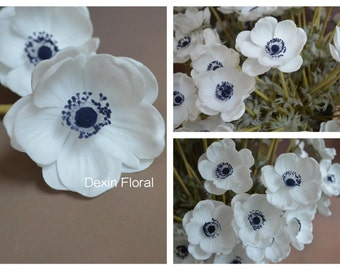 Natural Real Touch Not Silk White Anemones Deep Blue Center Single Stem for Wedding Bridal Bouquets, Centerpieces, Decorative Flowers