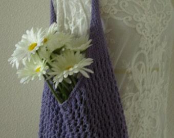 Market Bag, Knit Market Bag, Mesh Market Bag, Cotton Shopping Bag, Hand Knit Bag, Knit Market Bag, Farmers Market Bag, Lavender Bag
