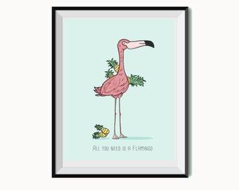 Pineapple flamingo Lámina - Ilustración Print - A5/A4- All you need is a flamingo