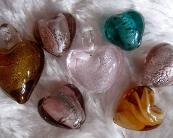 7 Handmade silver foil and lampwork heart shaped beads. Jewellery making and crafts