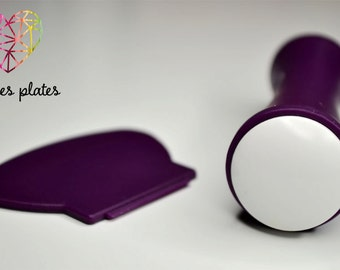 Double sided XL stamper + 1 scraper - DARK PURPLE (white + white) - stamping plates (B. Loves Plates)