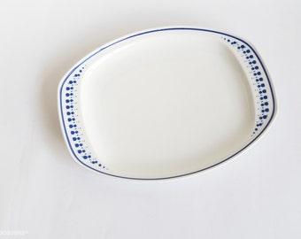 Noritake Primadura Platter -  'Chalice' (5004) - Blue Circles Geometric