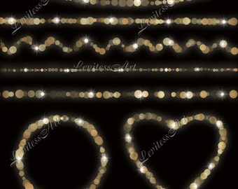 Gold bokeh string lights clipart Digital confetti border christmas wedding invites Instant Download