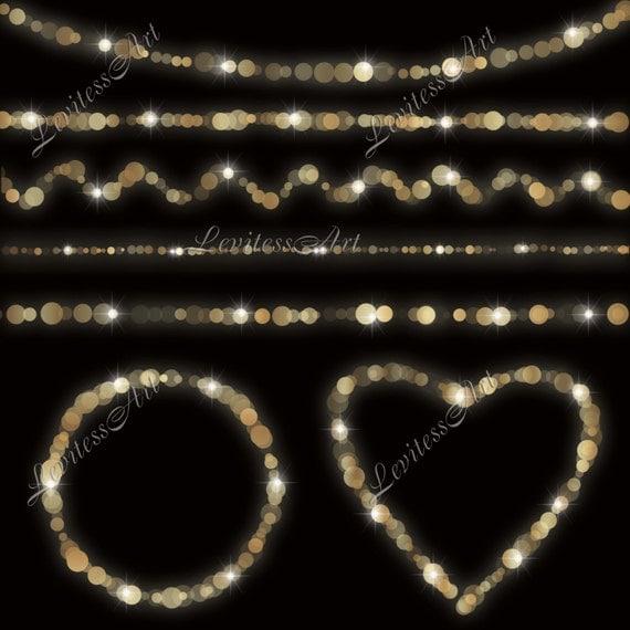 String Lights Bokeh : Gold bokeh string lights clipart Digital confetti border