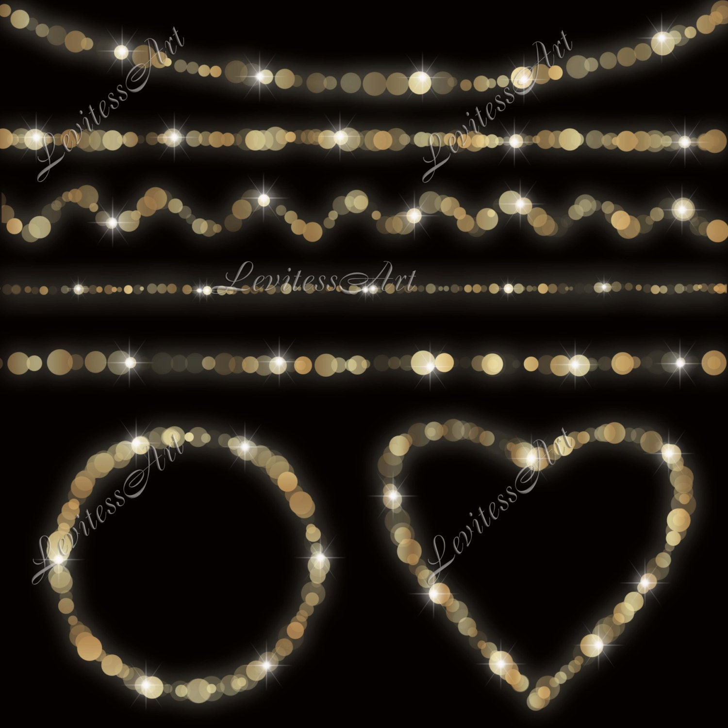String Lights Border : Gold bokeh string lights clipart Digital confetti border
