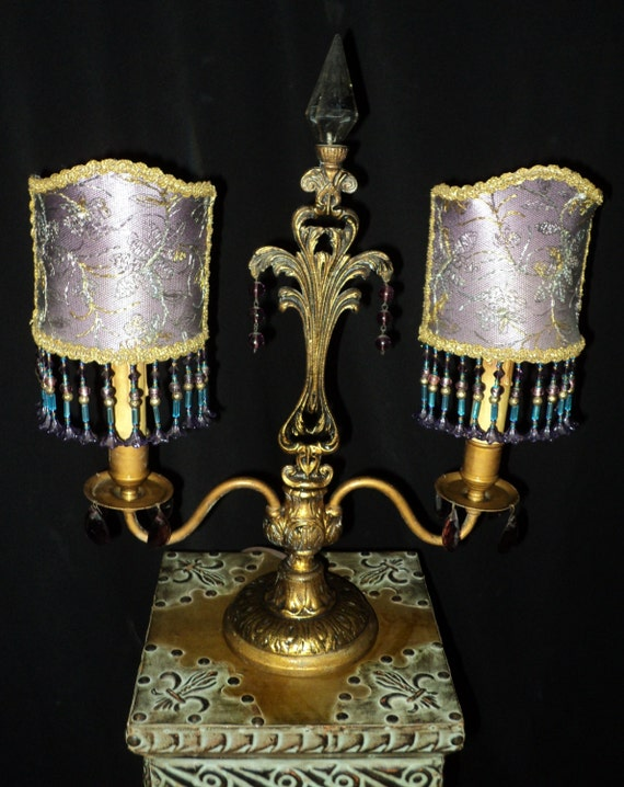 Items similar to antique beaded lampshades candelabra lamp for Purple beaded lamp shade