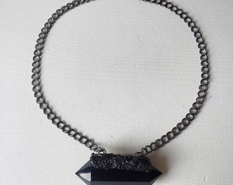 Hades: Obsidian and black tourmaline necklace