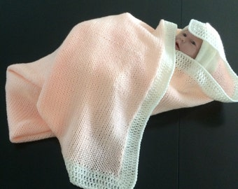 Knitted peaches and cream baby blanket. Baby's first name monogrammed for free .
