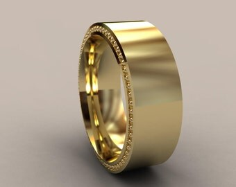 Yellow Gold 8mm Mens Wedding Band, Recessed Beading, 14kt Gold Wide Designer Mens Wedding Ring, Simple Mens Wedding Ring, Rustic Mens Ring