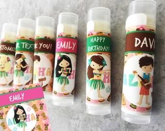 Luau Party Favors/5Pc/Luau Party/Luau Birthday/Luau Lip Balm/Luau Party Favor/Luau Chapstick/Hawaiian Theme Party Favors