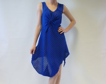 Sale. Electric blue linen short dress/tunic, M size. Ideal for summer, handmade. Very feminine look.