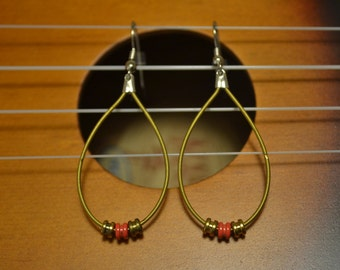 items similar to silver and copper guitar string hoop earrings on etsy. Black Bedroom Furniture Sets. Home Design Ideas