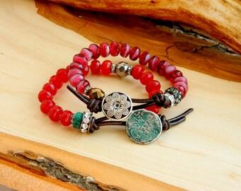 Вoho bracelet - wicker bracelet - country bracelet - boho jewelery - yoga bracelet - hippie bracelet - yoga jewelery - leather bracelet