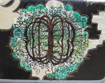 Painted Suitcase. Travelling Tree of Life.