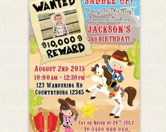 Cowboy Birthday Invitation invite Digital Printable Cowgirl Western Country
