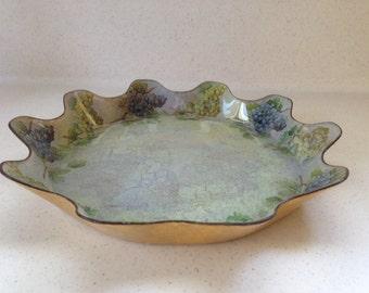Decoupage Glass Plate, Handmade, Grapes, Serving Plate, Gift Idea, Home Decor