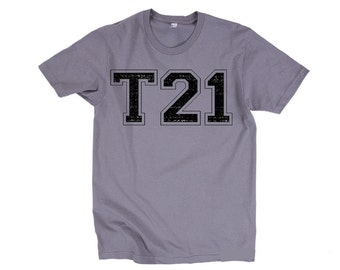 Down Syndrome T21 Varsity T-Shirt - American Apparel