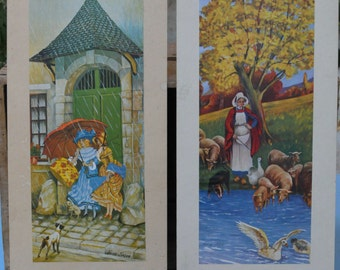 Two Mounted Prints of Rural Scenes by the French Artist Xavier Sager