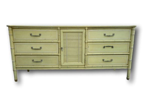 Henry Link Bali Hai Large Faux Bamboo Dresser Buffet Louvered