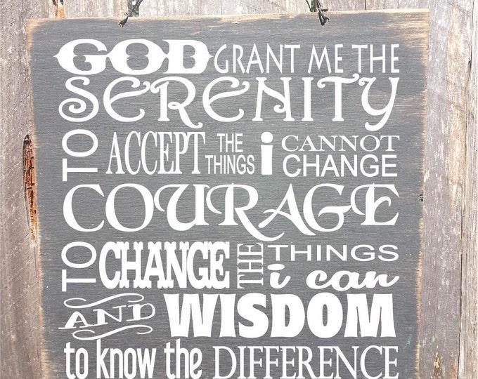 serenity prayer sign, serenity prayer wall art, serenity prayer, recovery gifts, aa recovery, recover gift, addiction, 122/224