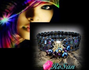 Blue Iris Tila Cuff Bracelet in Gold, Royal Blue-Gold-Purple Iris Cuff Bracelet,Wedding Jewelry,Bridal Jewelry,Special Occasion Jewelry
