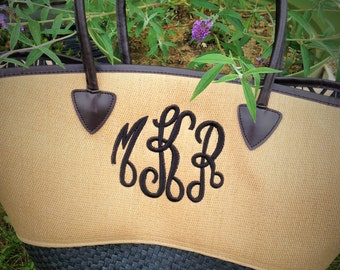 monogrammed straw beach tote - bag