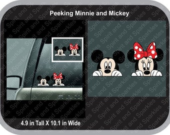 Peeking Minnie and Mickey Full Color Car Decal