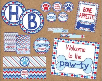 Let's Pawty Puppy Dog Party Package. Puppy Birthday or Baby Shower Decorations. Digital, Custom, Printable