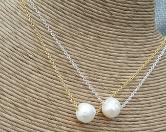 Pearl Bridal necklace -  Pearl Bridesmaid necklace - Floating pearl necklace silver or gold chain