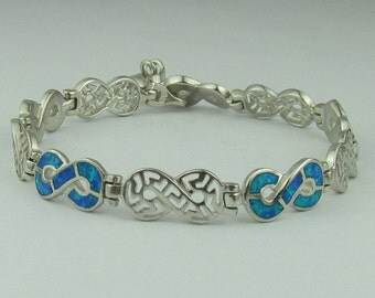 Sterling Silver & Opal, Filigree and Created Blue Fire Opal Inlay Ladies Bracelet, 925 Silver