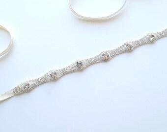 Thin Silver Bridal Sash, Silver Wedding Belt