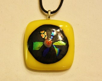 ON SALE - Handmade Fused Glass Necklace - Glass Pendant - Glass Necklace - Dichroic Glass