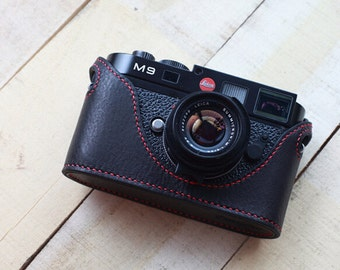 Handstitching Leica M8 M9 M9P Case, Leica Leather Cameras Case, Leather Half Camera Case Protector