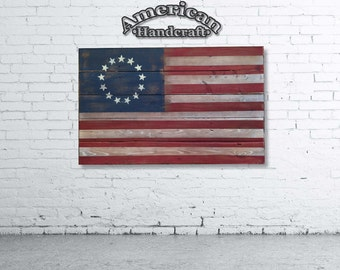 American Flag - Handmade Distressed Wooden Flag (13 stars)