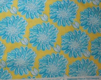 Tina Givens.  Free Spirit. Georgina. Westminster Fabric TG-23.  Teal mums with yellow background.  Sold in 1/2 yard units.  Cotton.