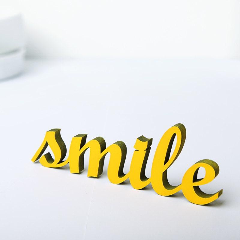 smile wood lettering. Black Bedroom Furniture Sets. Home Design Ideas