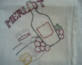 """Hand embroidered """" Merlot Red Wine"""" themed cotton flour sack dish towel"""