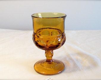 Kings Thumbprint Juice Glass, Amber Colored Juice Glass, Stemmed Juice Glass, Replacement Glass