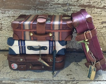MADE TO ORDER: Miniature Luggage, Suitcase, Bag in a Vintage Style