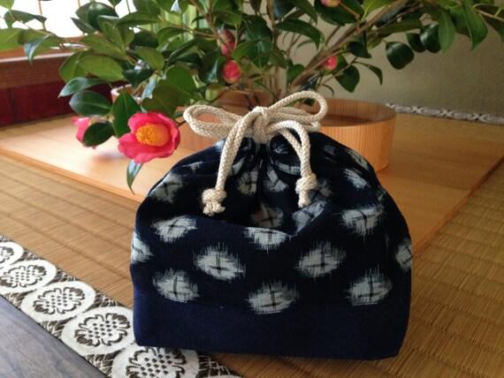 leap year sale vintage indigo print bento bag drawstring. Black Bedroom Furniture Sets. Home Design Ideas