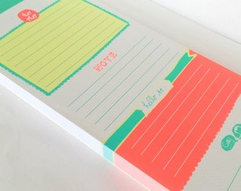 To Do lined memo / note pad, fluorescent