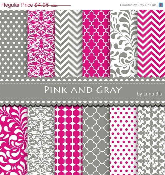 New Item Added To My Shop50 Off Pink And Gray Digital Paper Pink
